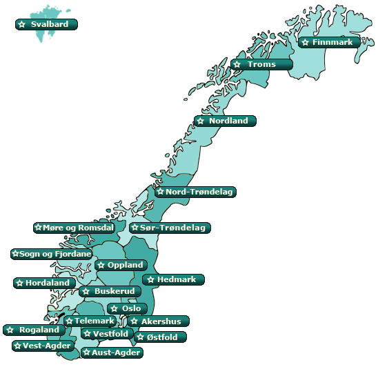 fylkesoversikt norge kart Trafikkskoler kjøreopplæring funksjonshemmede  fylkesoversikt norge kart